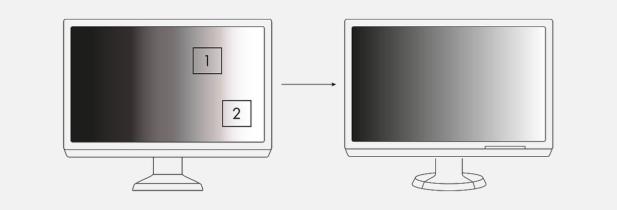 Example tonal value banding and shadow banding for conventional monitors