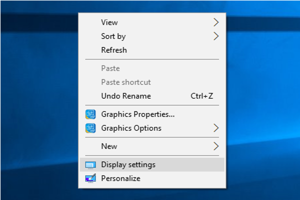 "When you right click on the desktop, select ""Display settings."""